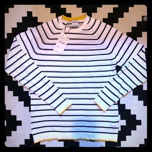 NWT Zara Men's Striped Sweater with Piping